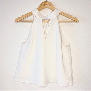 Lulu's White Tie Back Halter Cutout Crop Top